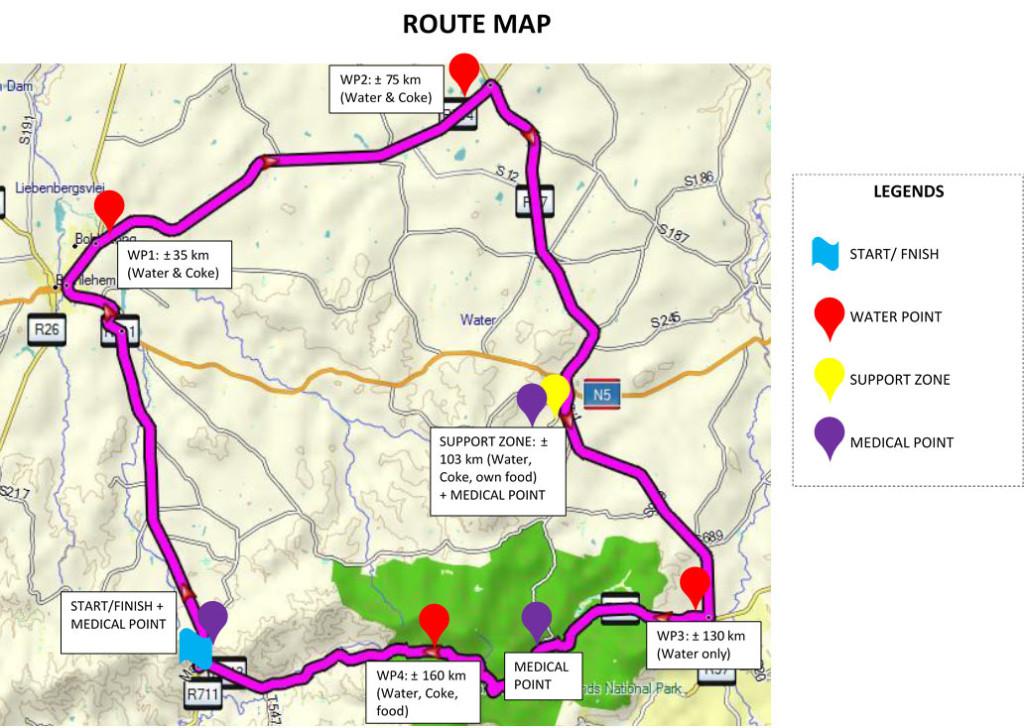 Maluti Double 90 Route Map